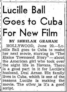 Lucille Ball Goes to Cuba for New Film