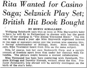 Rita Hayworth Wanted for Casino Saga